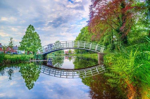 Park, Bridge, Reflection, Nature, Landscape, Water