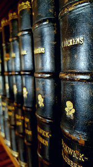 Books, Weathered, Leather, Gold, Charles Dickens