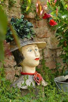 Head, Ceramics, Flower, Garden, Manual Labor, Crafts