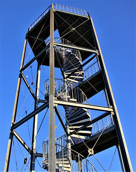 Observation Tower, Spiral Staircase, Metal, High, View