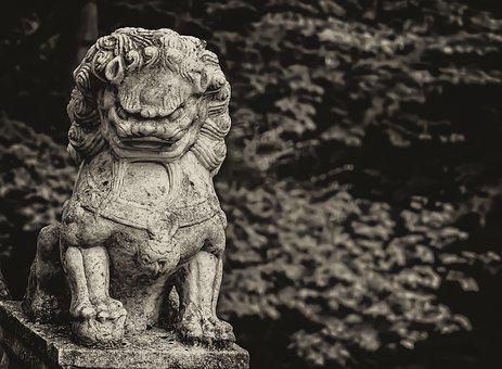 China, Lion, Sepia, Statue, Luck, Asia, Marble, Nature