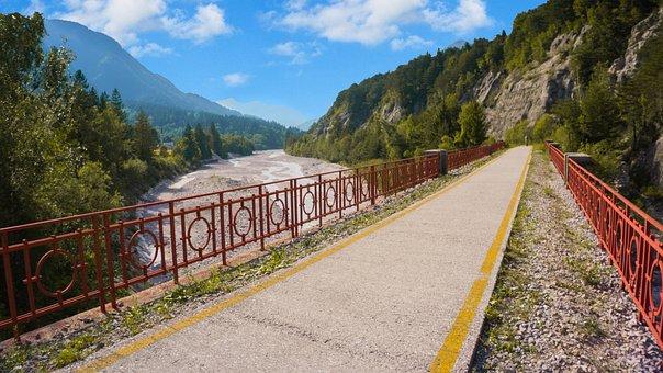 Cycling Bridge, Railway, Nature, Train, Landscape
