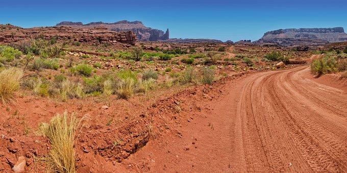 Utah, Dirt Road, Desert, Rock, Nature, Panorama