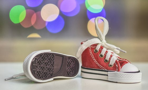 Sneakers, Sports Shoes, Small, Mini, Red, Bokeh