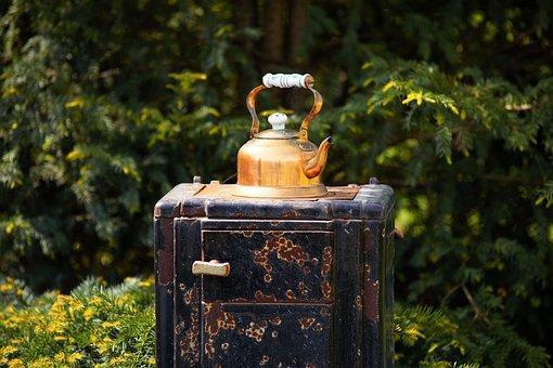 Copper Coffee Pot, Oven, Garden, Eye Catcher, Antique