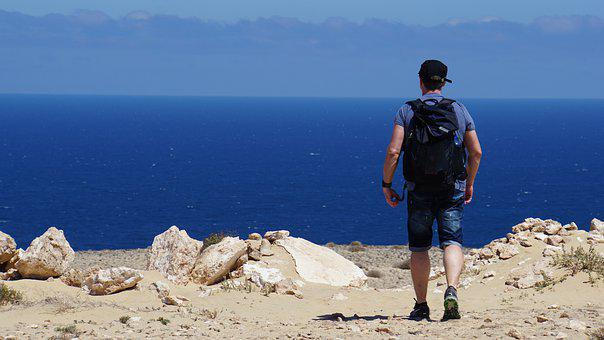 Man, Hiking, Backpack, Sea, Ocean, Blue, Rock