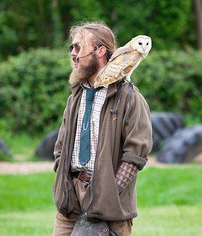 Man With Owl, Barn Owl, Hippy, Microphone, Green