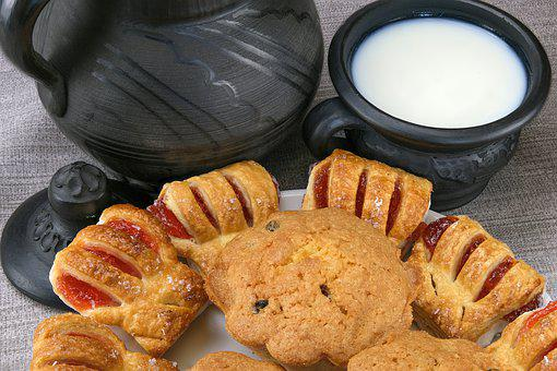 Milk, Breakfast, Gingerbread, Cookies, Sweet, Healthy