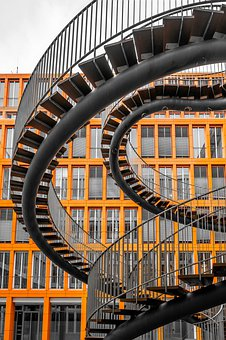 Stairs, Building, Window, Architecture, Facade, Railing