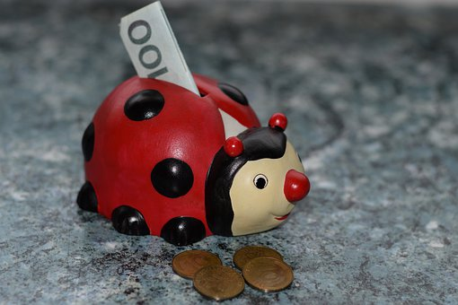 Ladybug, Piggy Bank, Money, Finance, Ceramic, Coin