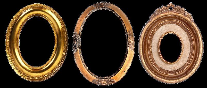 Frame, Carved, Gold, Baguette, Filigreed, Ornament