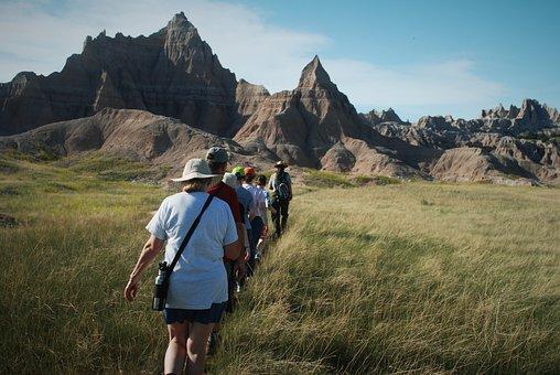 Hike, Journey, Hills, Cliffs, Tourist, Activity, Follow