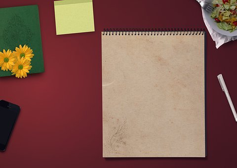 Notepad, Table, Iphone, Decoration, Noble, Paper, Salad