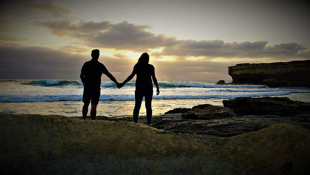 Lovers, Love, Hand In Hand, Sunset, Pair, Romance