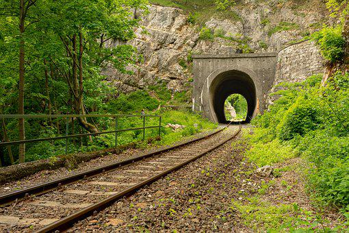 Tunnel, Rails, Transport, Forest, Mountains