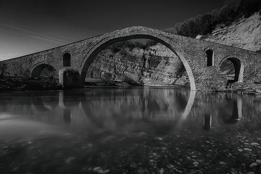 Bridge, Stone, Architecture, River, Greece, Sky