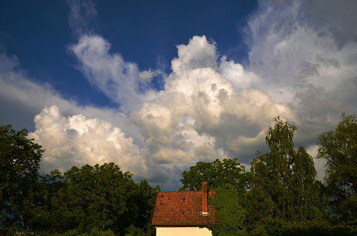 House, Tower Gomolyfelhő, Cottage, Cloud, Storm