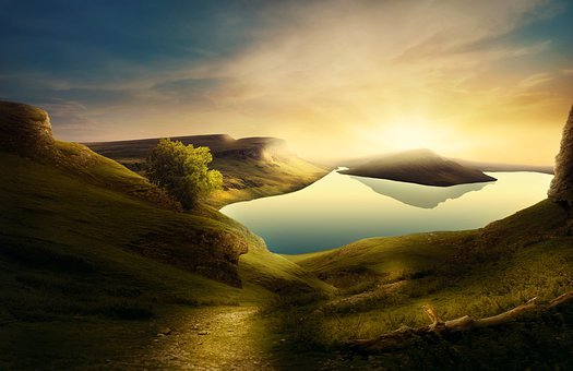 Landscape, Mountains, Lake, Path, Tree, Hill, Sunrise