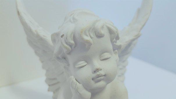 Angel, Cherub, Statue, White, Face, Expression