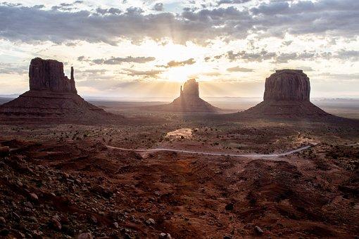 Monument Valley, Az, Usa, America, Mountains, Navajo