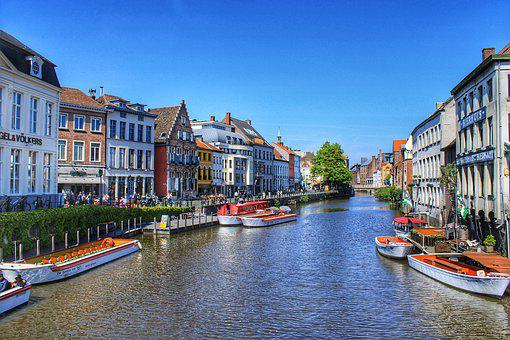 Belgium, Ghent, Gent, Downtown, Hdr, River Leie