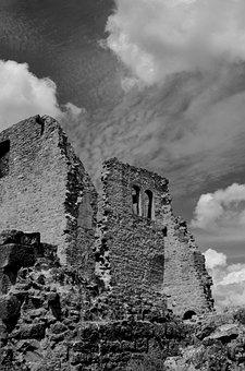 Ruin, Burgruine, Castle, Middle Ages, Black White
