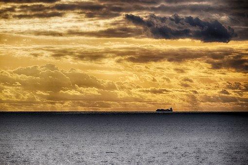 Sunset, Sea, Clouds, Nature, Evening, Landscape, Clear