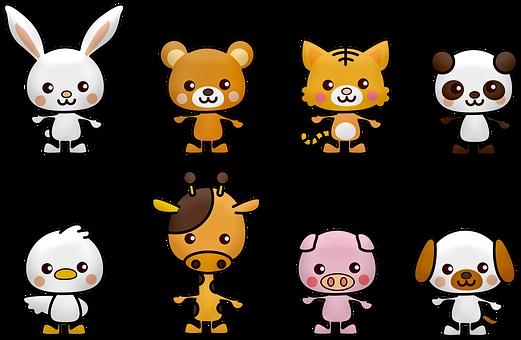Kawaii, Panda, Rabbit, Bear, White, China, Dog, Bird