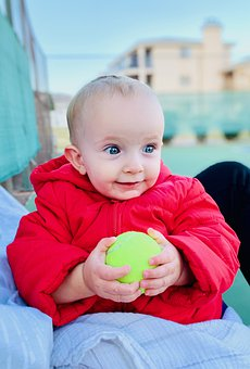 Baby, Ball, Portrait, Holiday, Happiness, Play, Happy