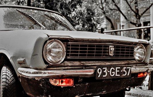 Automotive, Front, Chrome, Lamp, Auto, Parked