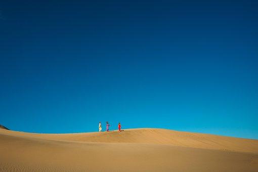 People, Landscape, Sand, Work, Desert, Hot, Sky, Blue
