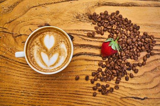 Coffee, Latte, Core, Strawberry, Red, Milk, Foam, Table