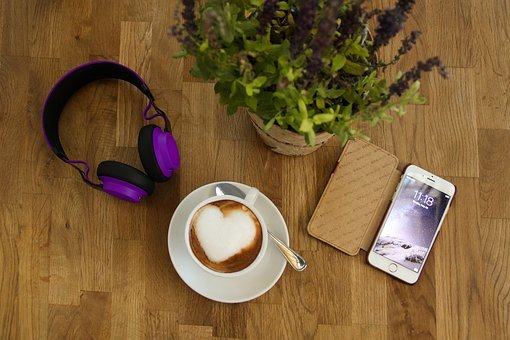 Coffee, Cup, Headphones, Hand, Smartphone, Plant, Wood