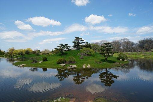 Chicago, Botanic, Garden, Trees, Pond, Lake, Reflection
