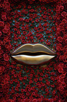 Lips, Roses, Red, Golden, Bordeaux, Love, Cosmetology