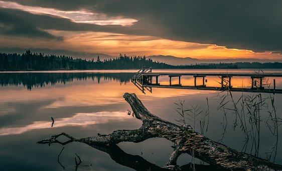 Sunset, Sundown, Dock, Reflection, Scenery, Landscape