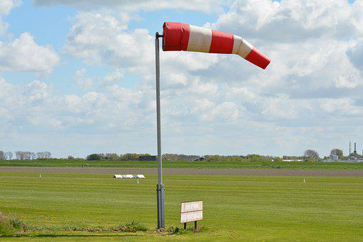 Windsock, Pasture, Airport, Pole, Green, Air, Blue