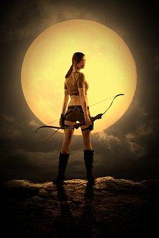 Woman, Lara, Arrow, Arch, Super Moon, Born, Adventure