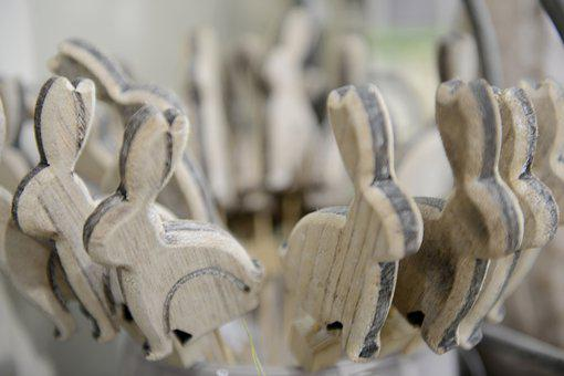 Bunnies, Easter, Wood, Deco, Decoration, Decorative