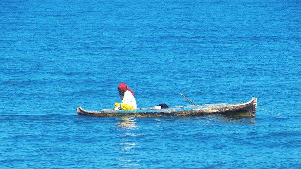 Canoe, Cartagena, Fisherman, Fun, Blue, Sea, Colombia