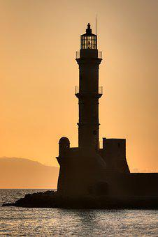 Lighthouse, Abendstimmung, Chania, Crete, Greece, Port