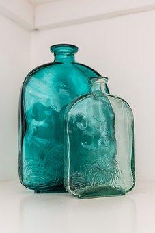 Decoration, Bottles, Blue Glass, Beautiful, Bottle