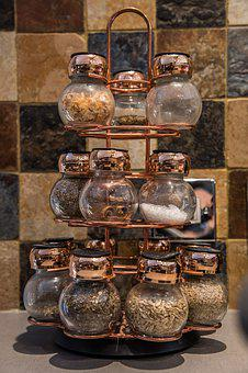 Beautiful, Spice, Set, Glass, Jars, Copper, Marble