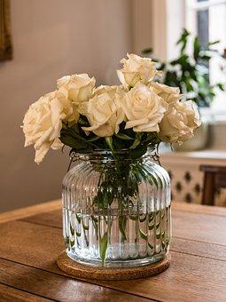Glass, Roses, Vase, Interior, Decoration, Flower