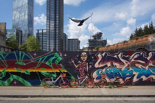 London, Graffiti, Street, Mural, Urban, Skyscape, Bird