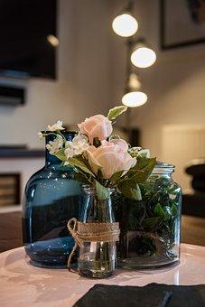 Beautiful, Interior, Vase, Set, Blue, Glass, Rose