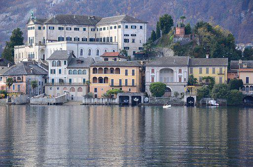 Orta San Giulio, Italy, Landscape, Lake, Houses, Water