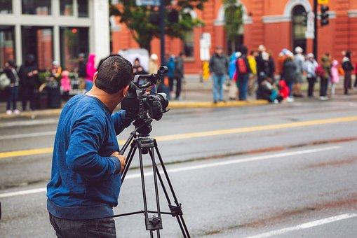 Camera, Man, Person, Street, Video, Negative Space