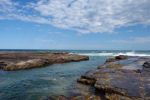 Australia Coast, Nsw, Rocks, Coastline, Holiday, Sunny