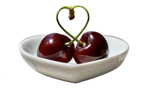 Cherries, Fruit, Heart, Shell, Isolated, Red, Ripe